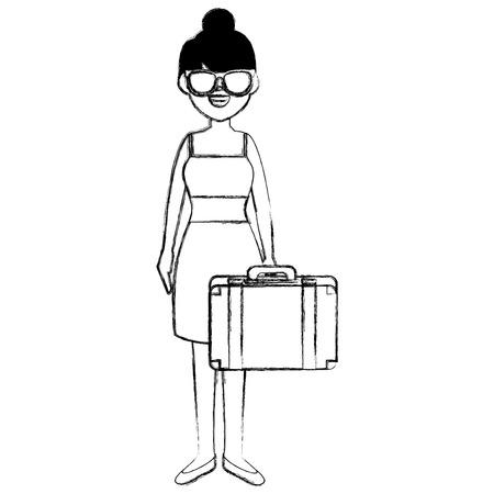 Belle fille avec valise vector illustration design Banque d'images - 86426777