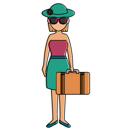 beautiful girl with suitcase vector illustration design Ilustração