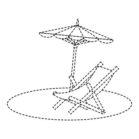 beach umbrella with chair vector illustration design