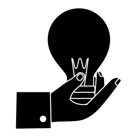 hand human with bulb light isolated icon vector illustration design Ilustrace