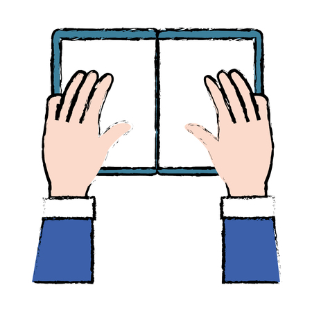 hands reader with text book school icon vector illustration design