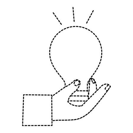 hand human with bulb light isolated icon vector illustration design Ilustração
