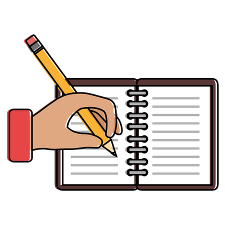 hand human with pencil writing in notebook vector illustration design