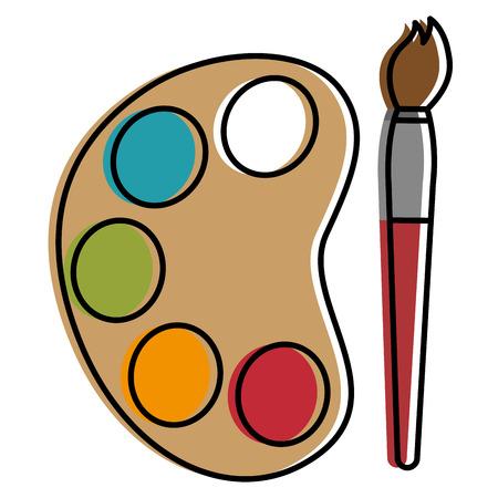 paint pallette with brush vector illustration design
