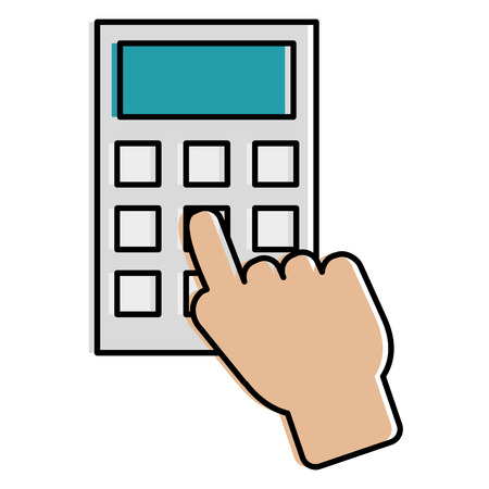 hand user with calculator math isolated icon vector illustration design Illustration