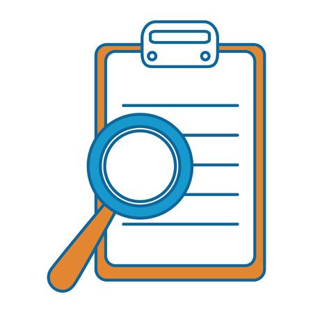 Checklist klembord met vergrootglas vector illustratie ontwerp Stockfoto - 86478949