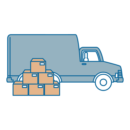 delivery truck with boxes vector illustration design