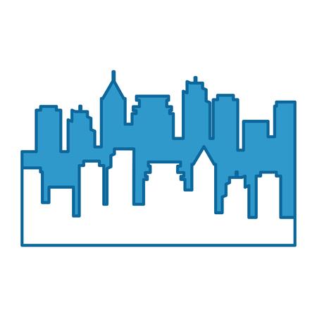 Progettazione dell'illustrazione di vettore dell'icona della siluetta di edifici di paesaggio urbano Archivio Fotografico - 86478996