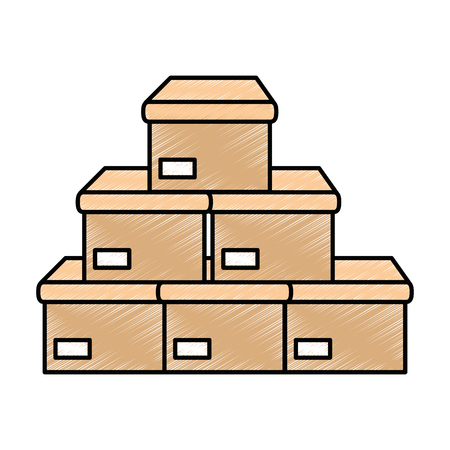 boxes carton isolated icon vector illustration design 版權商用圖片 - 86479002