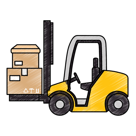 cart forklift with boxes vector illustration design