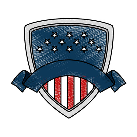 united states of america shield vector illustration design Çizim