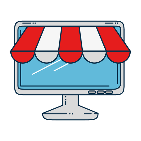computer display with parasol vector illustration design 向量圖像
