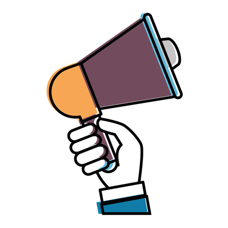 hand with megaphone audio isolated icon vector illustration design