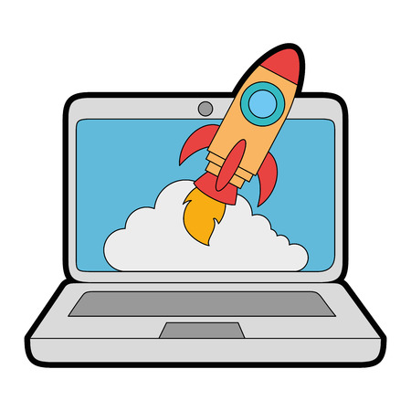 laptop computer with rocket launcher vector illustration design Illustration