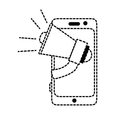 Smartphone device with megaphone vector illustration design Illusztráció
