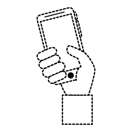 Hand user with smartphone isolated icon vector illustration design