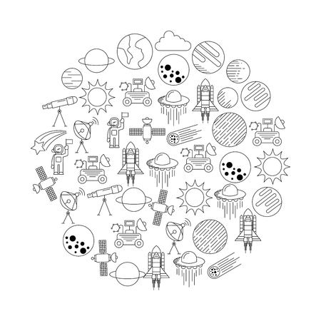 universe cosmos and astronomy icons set in circle vector illustration Ilustrace