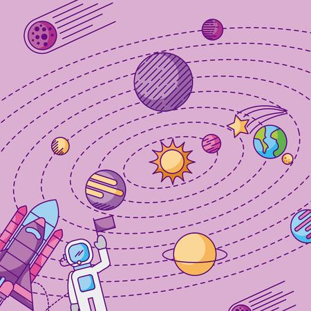 the solar system galaxy astronomy universe vector illustration 向量圖像