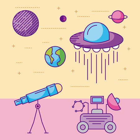 space icons of universe galaxy journey and technology vector illustration Illustration