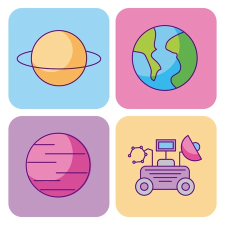 space and astronomy science universe elements set vector illustration Illustration