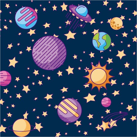 the solar system galaxy astronomy universe vector illustration Illustration