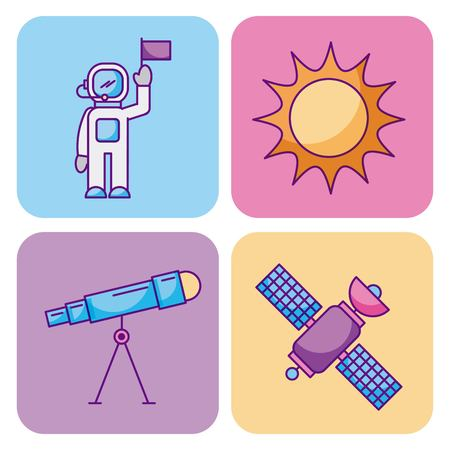 宇宙と天文学科学ユニバース要素セットベクトルイラスト