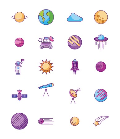 universe cosmos and astronomy icons set vector illustration