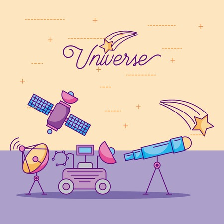space icons of universe galaxy journey and technology vector illustration Imagens