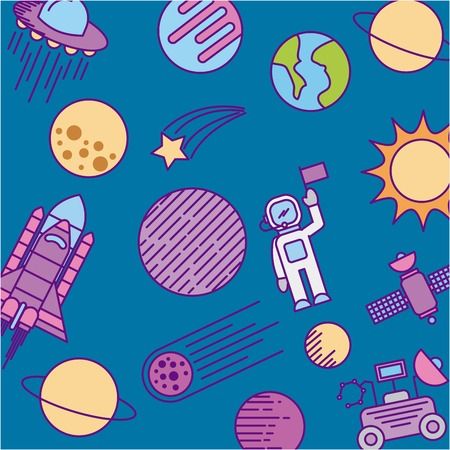 moon rover: universe cosmos and astronomy icons set vector illustration