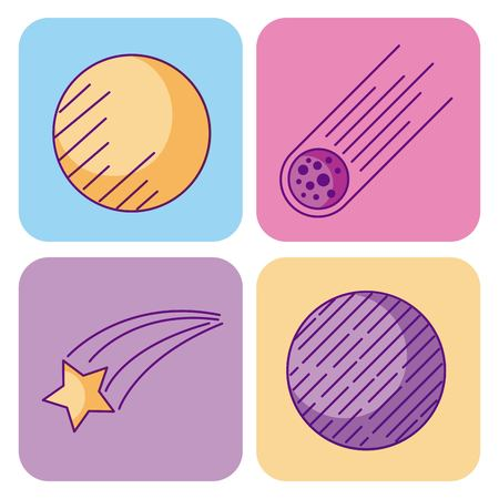 space and astronomy science universe elements set vector illustration Stok Fotoğraf
