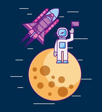 다른 행성 우주 임무 로켓 벡터 일러스트 레이션에 플래그가있는 우주 비행사