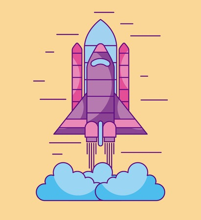 space shuttle launch exploration cosmic vector illustration
