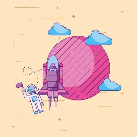astronaut met vlag planeet raket wolk ruimte universum vector illustratie Stockfoto
