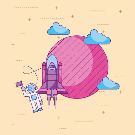 astronaut with flag planet rocket cloud space universe vector illustration Фото со стока
