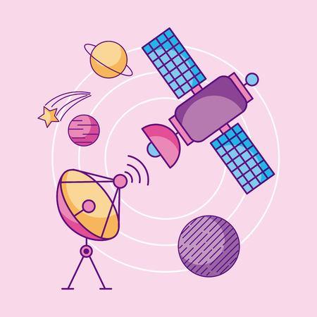 ruimte iconen van universum melkweg reis en technologie vector illustratie