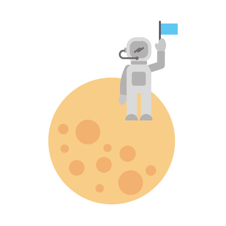 astronaut stand on the moon with flag space mission vector illustration Ilustrace