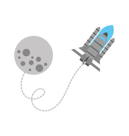 moon rocket space astronomy universe science vector illustration
