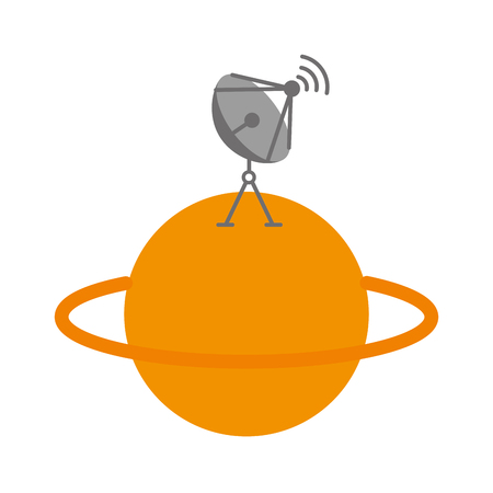saturn planet with satellite dish trasnmission signal vector illustration