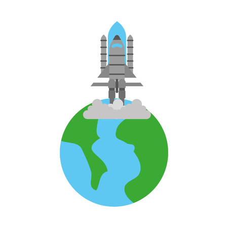 Planet earth and rocket launch in space vector illustration