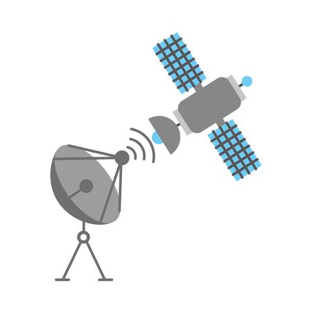 Ruimtesatelliet, schotelantena communicatie vectorillustratie
