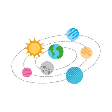 Ilustración de vector de planetas de universo solar universo de sol de nubes Foto de archivo - 86489694