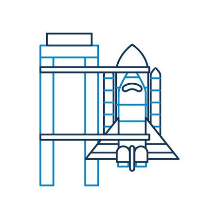 ロケット空間ベクトル図を起動する準備ができてのプラットフォームの上に立って