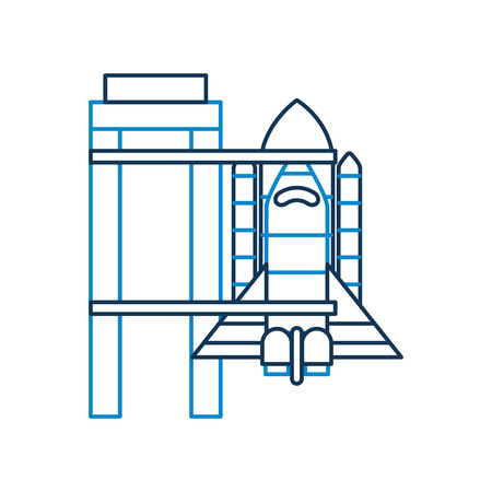 Rocket standing on the platform ready to launch in space vector illustration Ilustração