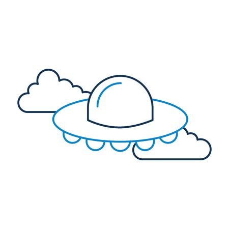구름, 접시 기술 과학 전송 벡터 일러스트 레이 션에 비행하는 UFO