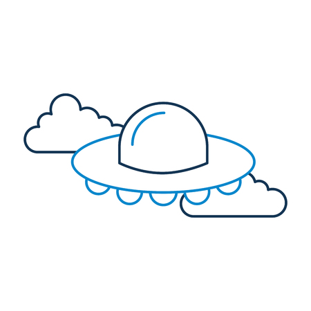 UFO flying in clouds, saucer technology science transport vector illustration