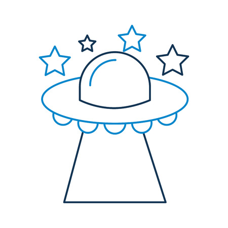 星と空飛ぶ UFO、ソーサー技術科学輸送ベクトル イラスト