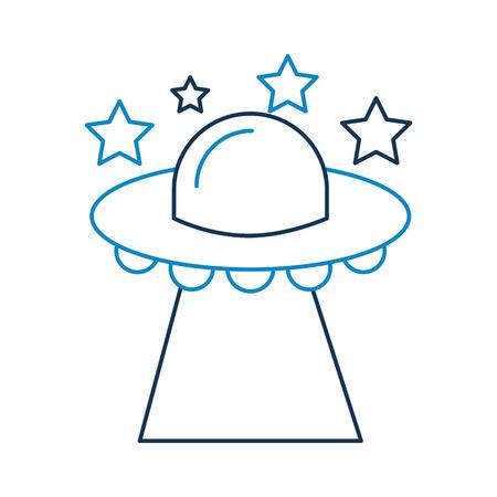 별, 접시 기술 과학 전송 벡터 일러스트와 함께 비행하는 UFO 일러스트