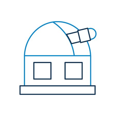 astronomy science building, modern observatory telescope tower vector illustration