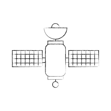 Space satellite communication signal network vector illustration.
