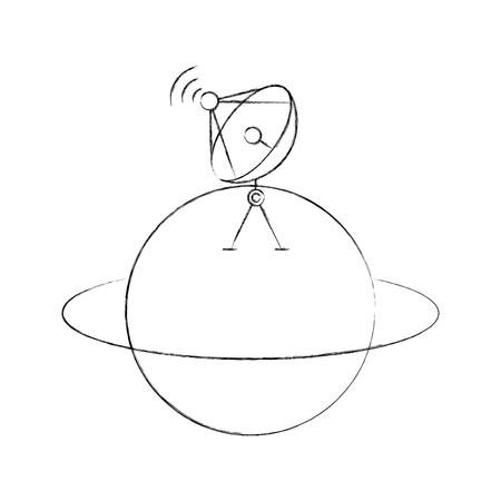 Saturn planet with satellite dish transmission signal, vector illustration